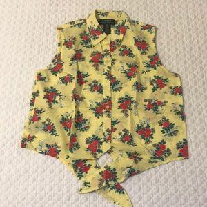 Ralph Lauren front tie floral blouse